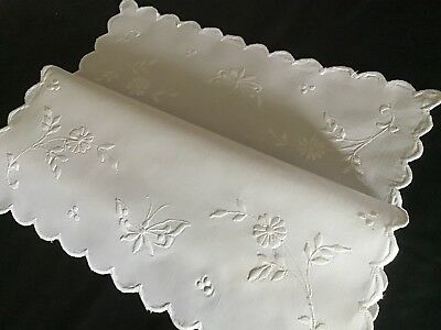 Lovely Antique Linen Tray Cloth/table Centre ~ Butterflies/florals
