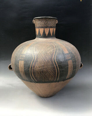"22""Ancient Old Majiayao culture Painted pottery big tank pot"