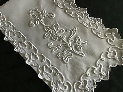 Beautiful Vintage Sachet Case ~Whitework Appliqued Embroidery