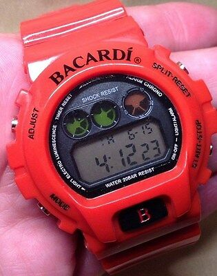 Bacardi Red Sport Watch LCD Digital Chronograph Water Resistant LED