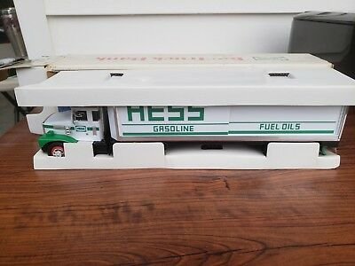 1987 Hess Toy Truck Bank In Original Box With Barrels Made In Hong Kong