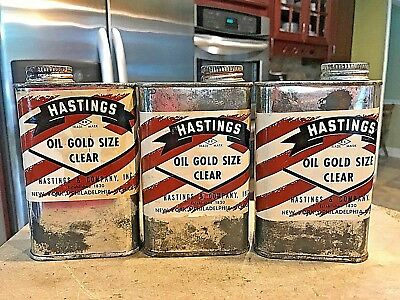 VINTAGE LOT OF 3-16 oz CANS OF HASTINGS OIL GOLD SIZE CLEAR OIL CANS HASTINGS CO