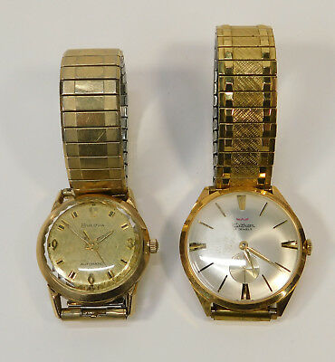 Lot of 2 Vintage Antique Wrist Watches USED Bulova Waltham For Parts Repair Mens