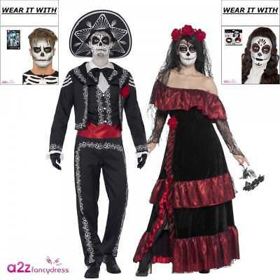 Day of the Dead Costume Bride Groom Couples Mens Womens Halloween Fancy Dress