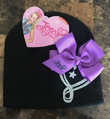 7c45588e616 JoJo Siwa Girls Knit Hat Beanie Nickelodeon Winter Kid Black w  Purple Bow