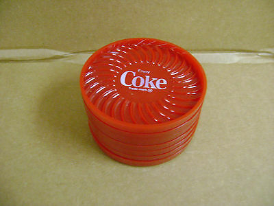 Set of 7 ~ Coke ~ Coca-Cola Red Plastic Advertising coasters RITEPOINT, USA