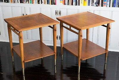 Pair of Vintage Mid Century Lane Copenhagen Walnut Two Tier End Side Tables MCM