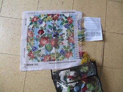 Ehrman tapestry kit, Rose Garland by David Merry, started