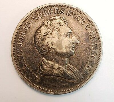 1844 Norway 1/2 Specie Daler Silver Coin 14.4 Grams
