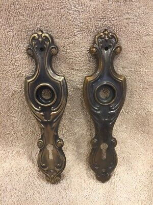 Antique Pair Stamped Brass Fancy Victorian Doorknob Back Plates