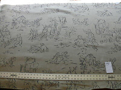 Modern & Whimscal Toile Black Natural 100% Linen #1498