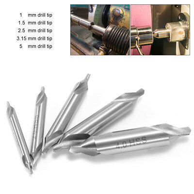5pcs HSS Center Drill Bits 60 Degree Countersink High Speed Steel Set Tool BI340