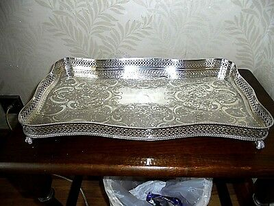 Lovely Sheffield Silver Plated on Copper Rectangular Gallery Tray
