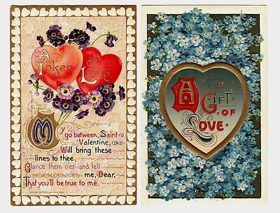 Lot of 2 Antique Valentine's Day Postcards John Winsch Hearts Flowers Gold