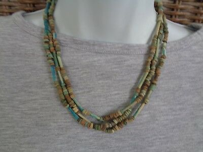 Handmade Ancient Faience Genuine Mummy Beads Multistrand Necklace Gift