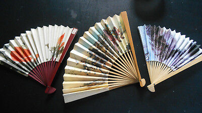 Chinese Japanese Asian PAPER HAND FANS lot/3 colorful floral, Samuri warriors
