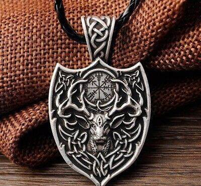 Valknut Odin 's Large Double Deer Sekir norse Pendant Necklace Viking Talisman