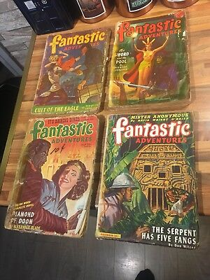 4 x Fantastic Adventures Magazine 1945 and 1946 - Pulp magazines