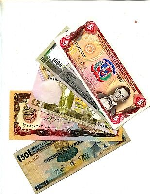 Dominican Republic Plus 4 Other Diff Foreign Banknotes Vg Or Better 3.95