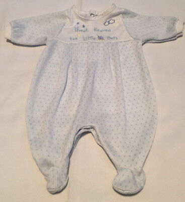 """Vintage Baby Sleeper Pajamas """"Thank Heaven For Little Boys"""" Size Small  7-12 lbs"""