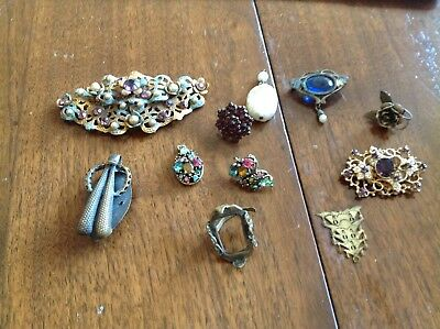 MIXED LOT OF VINTAGE & ANTIQUE Pins SILVER & JEWELERY