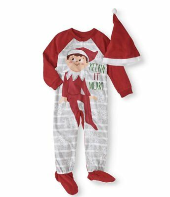 NWT Elf On The Shelf Toddler Boys Girls Unisex Sleeper Footed Pajamas & Hat 3T