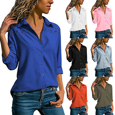 Womens Long Sleeve Blouse Button Casual Tops Ladies V Neck OL Office Work Shirts
