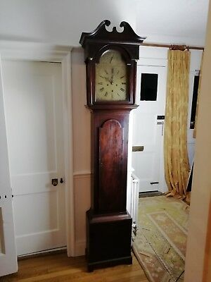 Georgian Mahogany Longcase Brass Faced Grandfather Clock Eight Day