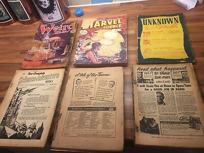 6 x various pulp magazines - 1940s and 1950s