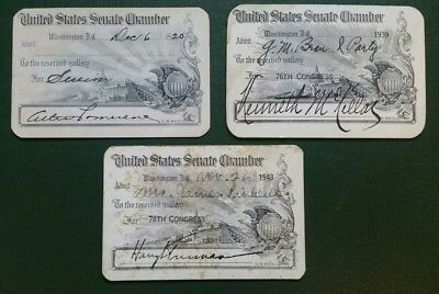 Lot of 3 US Senate Cards -- One Signed Harry Truman 1920 to 1943