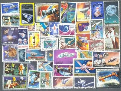 Space 100 all different large colourful stamps