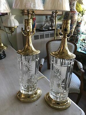 Signed Great Pair Of Dresden Cut Crystal Brass Table Lamps