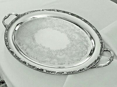 Antique Vintage Wm Rodgers & Son Large Silver Plate Butlers Tray Victorian Rose