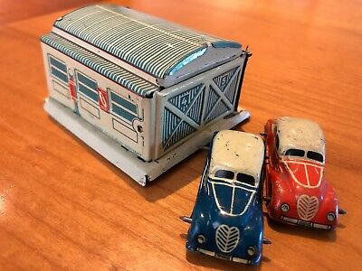 Antique Germany Tin Penny Toy Garage Georg Fischer & Cars 1930 Very Rare Orig.