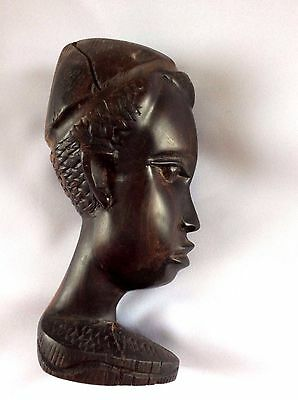 Vintage Tribal African Hardwood Carved Male Head Sculpture Heavy Ebony ?