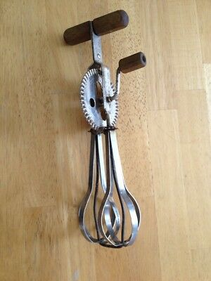 Vintage Metal Ekco Egg Beater Mixer With Wood Handle Kitchen Utensil