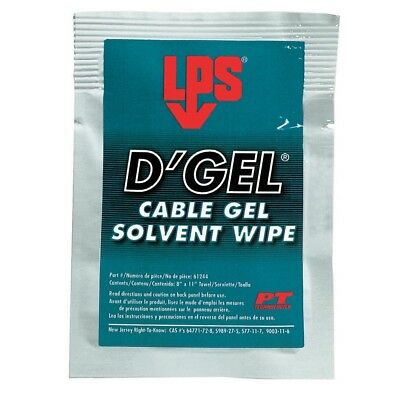 """LPS D'Gel Degreaser Cable Gel Solvent Wipes - 8"""" x 11"""" - Lot of 12"""
