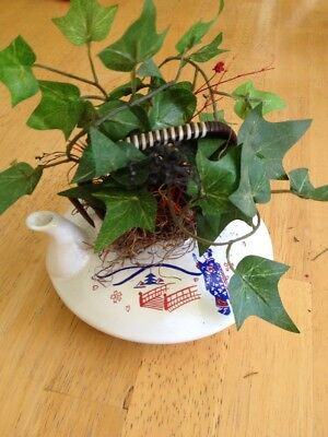 Vintage Ceramic Teapot Planter With Ivy Leaves, Made In Japan