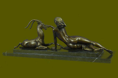 Wonderful French bronze lady Sitting with a Goat Sculpture Marble Base Vitaleh