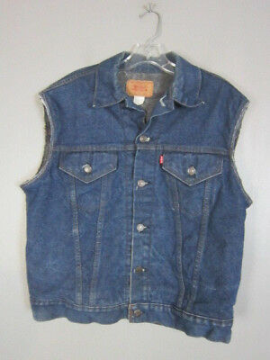 Vintage Levis 80s Sherpa Blanket Trucker Denim Cut off Jean 2 Pocket Vest Small