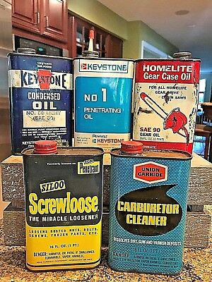 VINTAGE LOT OF 5-16 oz METAL OIL CANS KEYSTONE, HOMELITE, SILOO & UNION CARBIDE
