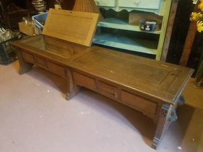 Antique MISSION  Art and Crafts Panelled Oak COFFER  LOW BENCH Chest