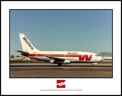 Western Airlines Boeing 737-2T2 11x14 Photo (J031RGAS11X14)