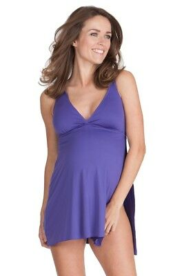 Seraphine Maternity Purple Multi-Way Swim Dress Swimming Costume Size S 8-10