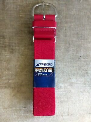 Baseball Belt-Red-Champro Elastic with 1.5-Inch Leather Tab Scarlet, 28-52-Inch