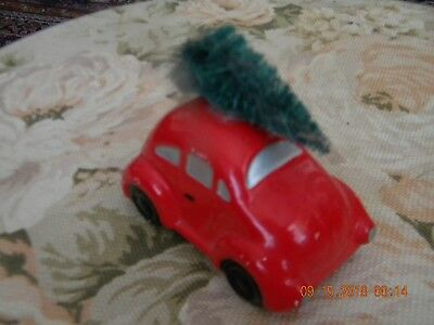 Dept. 56 Vintage Red Car With Bottle Brush Tree On Top Christmas Village Piece