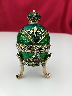 Bejeweled egg Topped with Green Crown Trinket box w/ matching Jeweled Stand VGC
