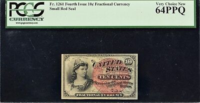Fr. 1261 Fourth Issue 10c Fractional Currency PCGS VCN64 PPQ - Small Red Seal
