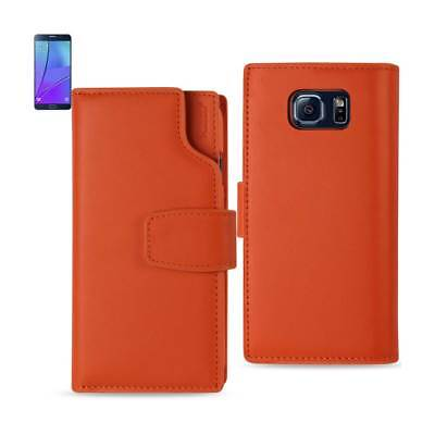 Samsung Galaxy Note 5 Genuine Leather Wallet Case With Open Thumb Cut Tangerine