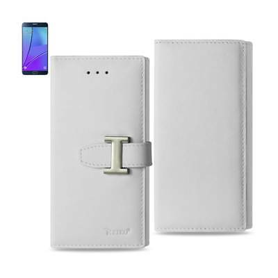 Reiko Samsung Galaxy Note 5 Plus Genuine Leather Rfid Wallet Case In Ivory